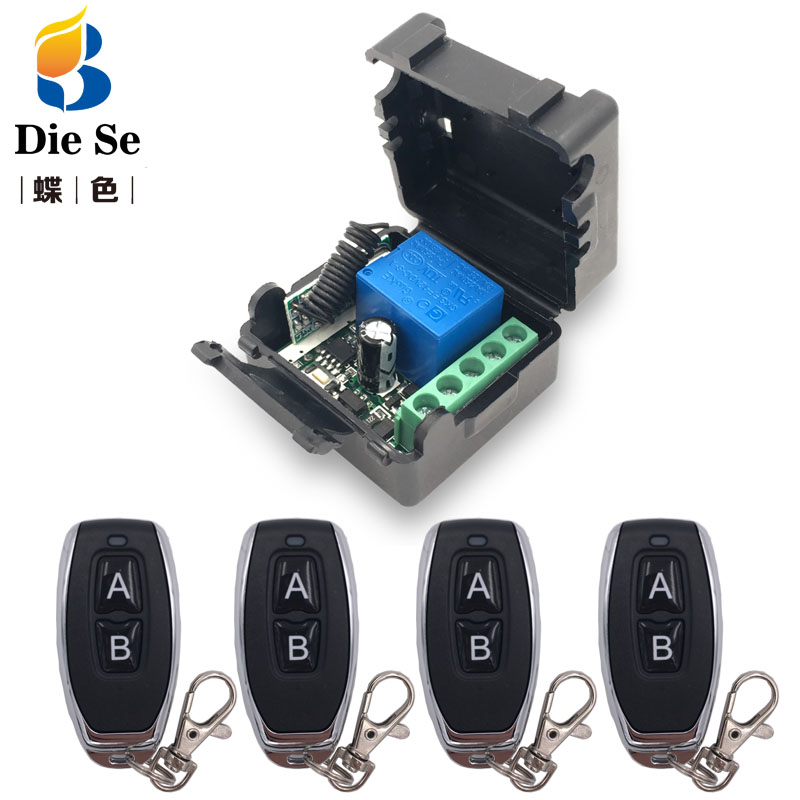 Universal Remote Control DC 12V <font><b>1CH</b></font> <font><b>rf</b></font> <font><b>433</b></font> Relay Receiver and Transmitter for Garage Remote Control and Remote Light Switch image