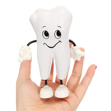 1pc Tooth-figure Squeeze Toy Soft PU Foam Tooth Doll Model Shape Dental Clinic Dentistry Promotional Item Dentist Simulation Toy non toxic pvc adult skull model 1 1 three removable tooth clinic simulation skulls cranium medical college decorative figurines
