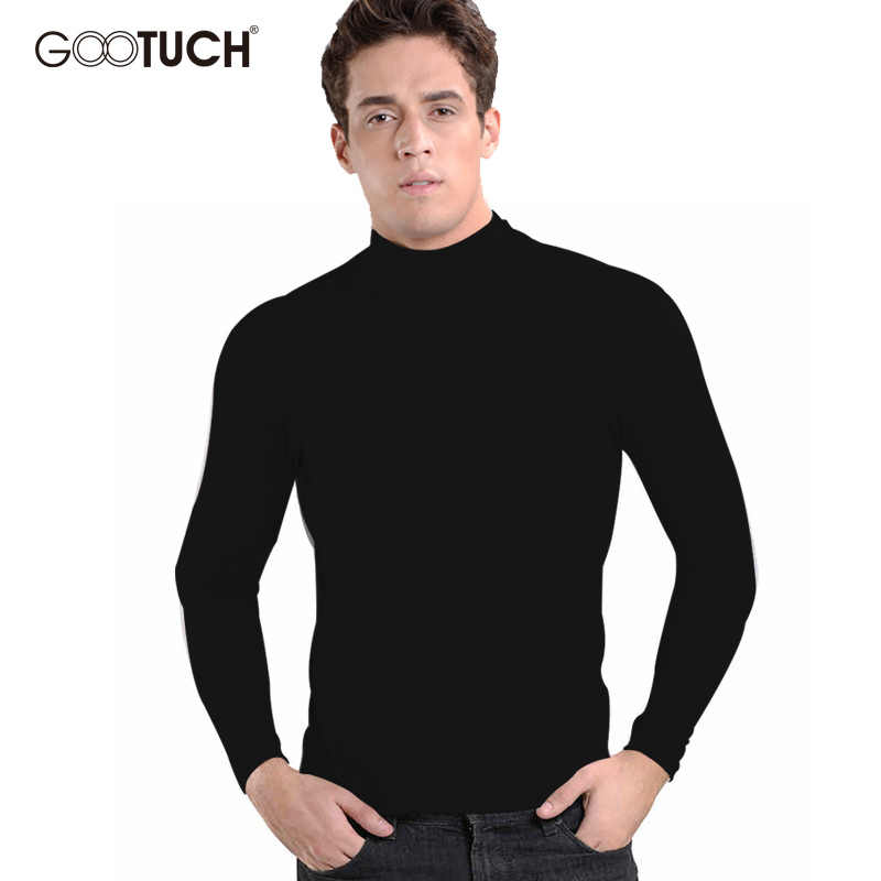Cotton Mens Thermal Underwear Winter Turtle Neck Tops High Collar Long Johns 4XL 5XL 6XL Long Sleeve Undershirt GOOTUCH-2455