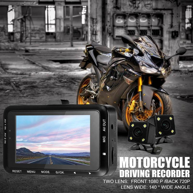 Motorcycle Recorder Dashcam Locomotive Camcorder Double Lens Camera Car Driving Moto