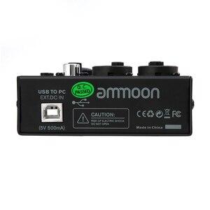 Image 5 - Ammoon AGM02 2 ערוץ כרטיס קול דיגיטלי ערבוב קונסולת אודיו מיקסר 2 band EQ מובנה 48V פנטום כוח 5V USB עבור DJ חי