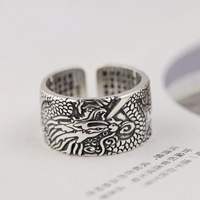 King S990 Foot Silver Ancient Craft Men's Heart Sutra Text Opening Dragon Ring Thai Silver Hand Jewelry