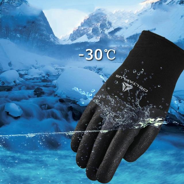 قفازات الشتاء 30 درجة النتريل مكافحة انخفاض درجة الحرارة قفازات دافئة ارتداء مقاومة العمل ركوب التزلج قفازات أمان يندبروف
