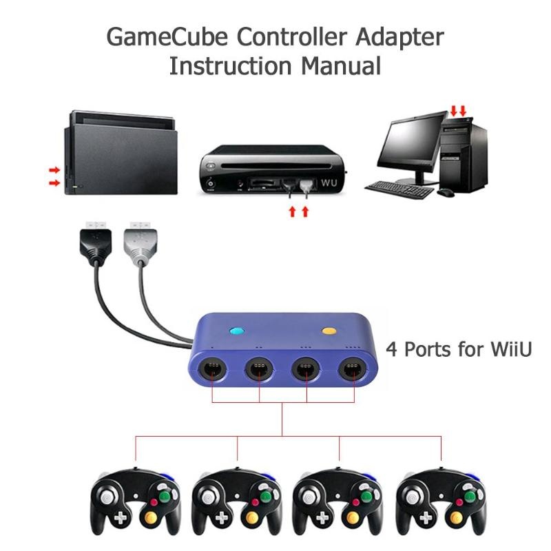 Efficient Alloyseed 4 Port For Gc Game Cube To For Wii U Pc Usb Nintend Switch Game Pads Controller Adapter Converter Gamepads Accessories Cleaning The Oral Cavity.