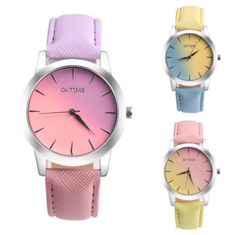 Fashion Casual Watches Women Female Leather Strap Wristwatches Quartz-watch Clock Pattern Candy Color Male Jewelry Retro Rainbow