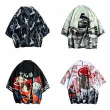 4352 D été Hommes Kimono chemise plus la taille Cardigan Kimono japonais  Modèles Ouvrir Point Poissons Grue Imprimer Harajuku H.. fc41b534c935