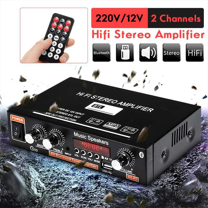 90W 2CH LCD Display HIFI Audio Stereo Power Amplifier Bluetooth FM Radio Car Home Remote Control Car Audio Amplifiers