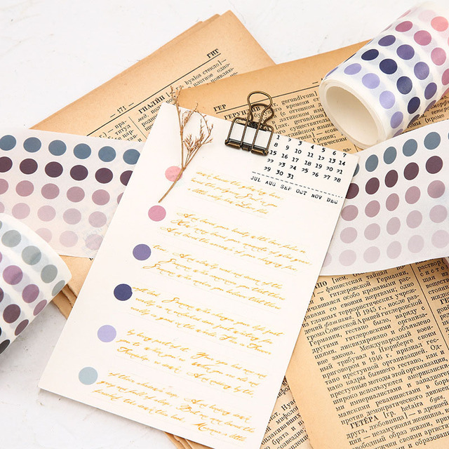 School Office Supply Colorful Dots Masking Tapes List Journal Student Notebook Stickers Kids DIY Decorative Diary Scrapbooking 1
