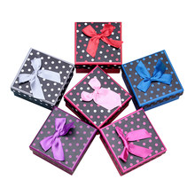 6pcs Bow Jewelry Boxes Cute Dot Prints Necklace Boxes Ring Case Storage Case Gift Boxes For Girls(China)
