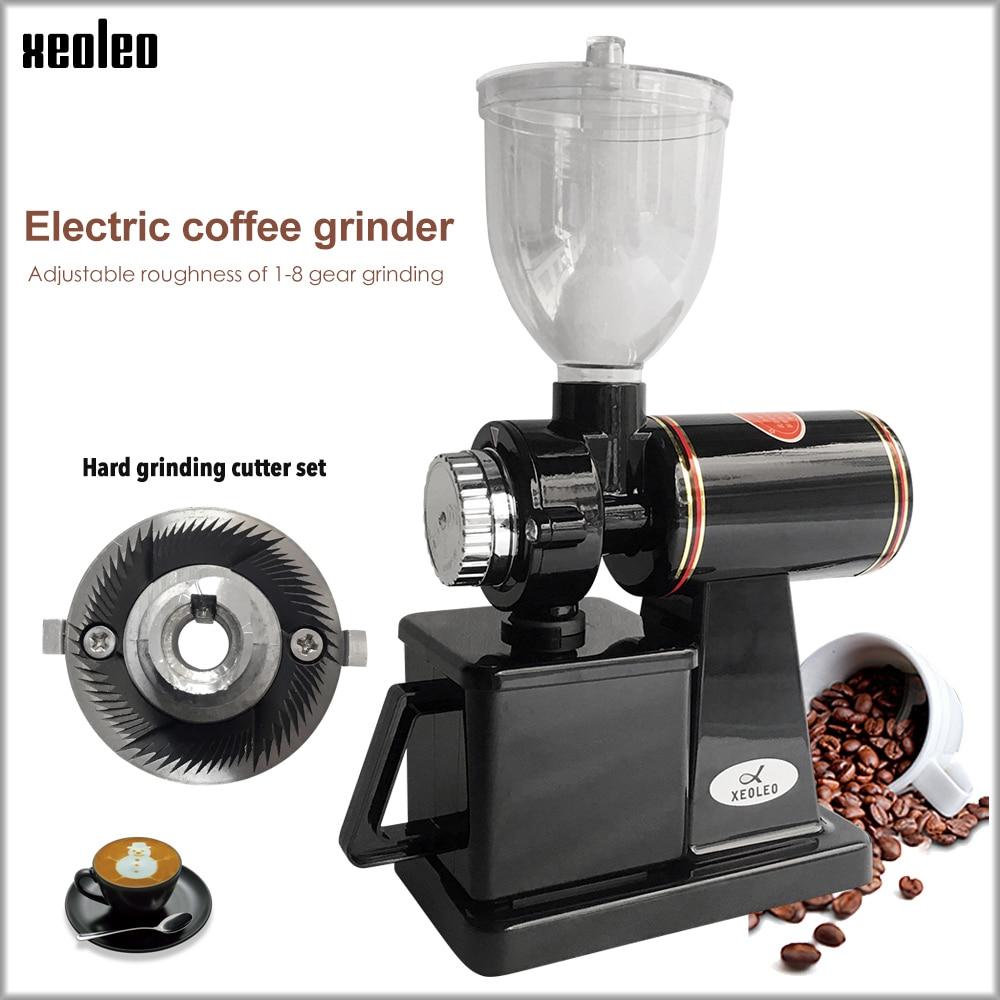 Xeoleo moulin à café électrique 600N moulin à café machine grain de café broyeur machine bavures plates rectifieuse 220 V rouge/noir