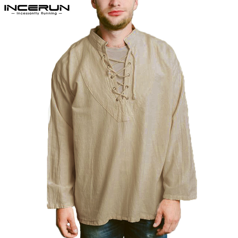 INCERUN Men's T Shirt Long Sleeve Lace Up Vintage Casual Male Tee Tops Solid Color Leisure Cotton Baggy T-shirt Men Clothes 5XL