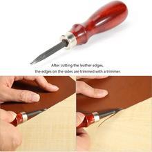 0.8/1/1.2mm Sharp Leather Edge Beveler Skiving Tools Wood Handle Cutter Leathercraft DIY Cutting Tool