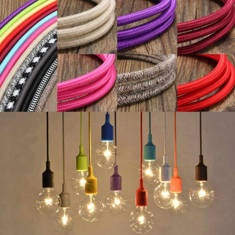 1M 300CM 5M 10M 3 Core Vintage Color Twist Braided Fabric Cable Wire Electric Light DIY Pendant Lamp Wires