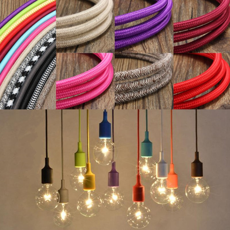 1M 300CM 5M 10M 3 Core Vintage Color Twist Braided Fabric Cable Wire Electric Light DIY Pendant Lamp Wires1M 300CM 5M 10M 3 Core Vintage Color Twist Braided Fabric Cable Wire Electric Light DIY Pendant Lamp Wires