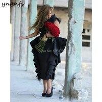 YNQNFS C28 элегантные атласные Чай Длина черное перо abendkleider халат вечер Дубай торжественное платье Вечерние Мать невесты платья 2019