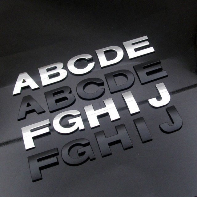 WL New 45 And 25mm 3D DIY Letters Alphabet Emblem Chrome And Black Car Sticker Digital Badge Logo  Accessories Motorcycle