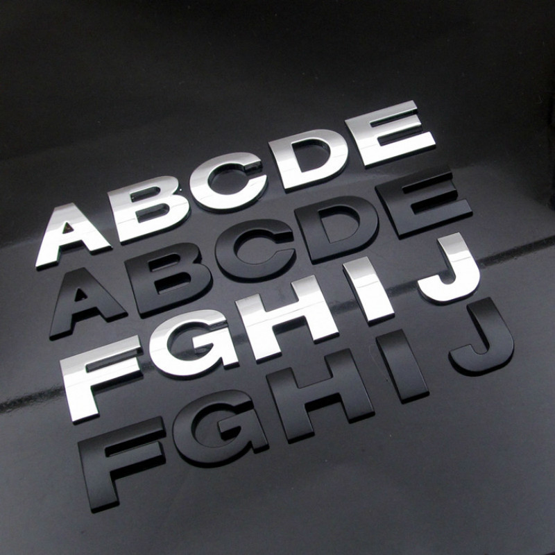Color Name:, Style: Y 3D Car Styling Metal DIY ARC Letters Chrome Digital Alphabet Emblem Decal Car Stickers Custom Logo Automobiles Car Accessories