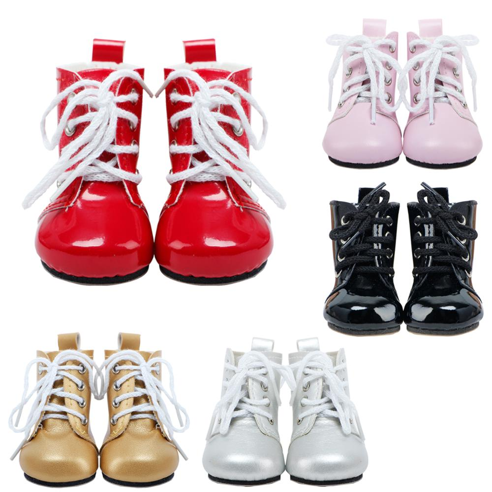 Handmade Doll Shoes Party Wear Bandage Boots Pink Red Silver Flat Shoes Fit For American Girl Doll 18'' Accessories Kids DIY Toy