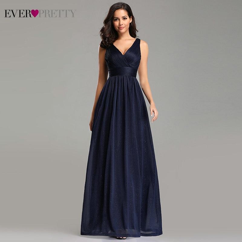 Ever Pretty Prom Dresses V Neck A Line Sleeveless Empire Floor Length Elegant Sexy Party Gowns 2019 Vestidos De Fiesta De Noche-in Prom Dresses from Weddings & Events