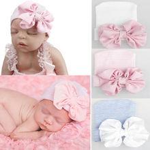 PUDCOCO модная удобная Больничная Шапочка с бантом для новорожденных девочек, шапка-тюрбан, хлопковые детские шапки с бантом