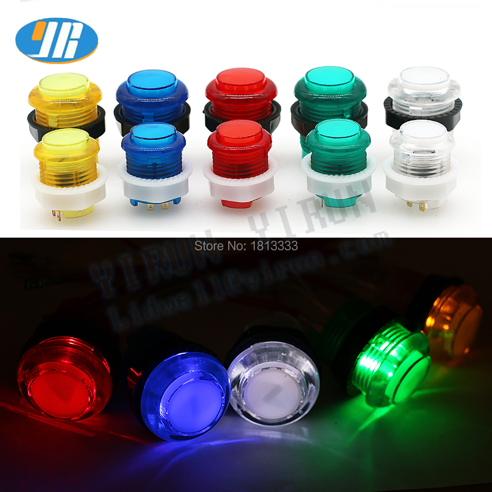 100PCS 28mm 24mm Arcade Push Button LED Button Switch 5V Illuminated Button 5 Colors