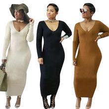Casual Long Sleeve Dress Women Knit Ankle Length Pencil Cotton Autumn Basic Dresses Winter Maxi Straight Vestidos