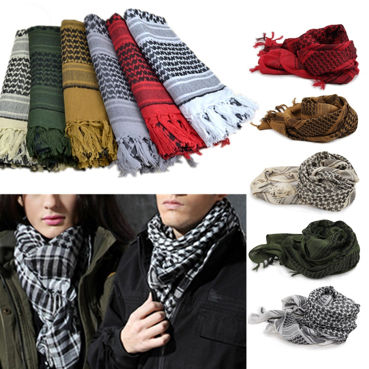 Sports Outdoor Military Arab Scarf Army Fan Tactical Scarf Multi-Function Windproof Sandproof Warm Scarf for Men Women