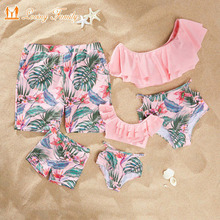 Mother Daughter Swimwear Family Look Matching Swimsuit Men Kids Boy Dad Son Beach Shorts Mommy And Me Clothes Women Girl Bikinis family matching swimwear leopard print mother daughter bikini kids swimsuit women one piece swim men boy dad son beach shorts