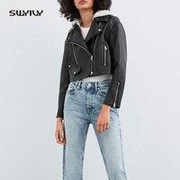SWYIVY Black PU Leather Jacket Women Casaco Feminino Coats Jackets Women Spring 2019 Fashion Coat Leisure PU Jacket Short Design