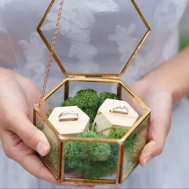 Нордическая шестиугольная прозрачная стеклянная коробка для колец, Свадебная коробка для колец, вечный цветок, стеклянная крышка, инноваци...
