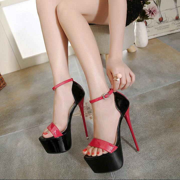 Hot Selling Red Black Patent Leather Ladies Sandals 16CM High Platform Ankle Strap Sandals Women Stiletto Heels Banquet Shoes in High Heels from Shoes