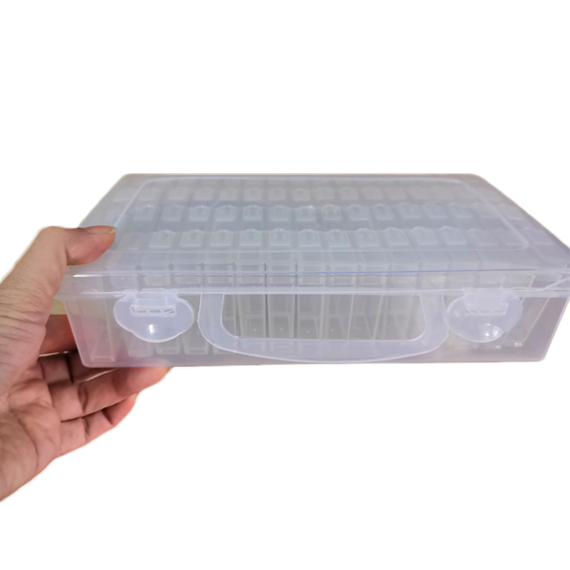 Piedra accesorio de almacenamiento 64 redes de cajas de almacenamiento de la caja de visualización pintura diamante Cruz puntada resina cuentas de diamantes de imitación de contenedor