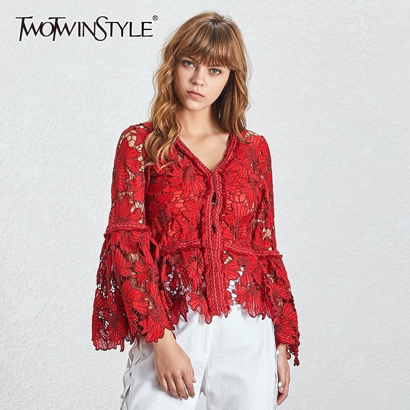 TWOTWINSTYLE Fashion Reddish Women s Shirt V Neck Long Flare Sleeve Hollow Out Clothing Top Female