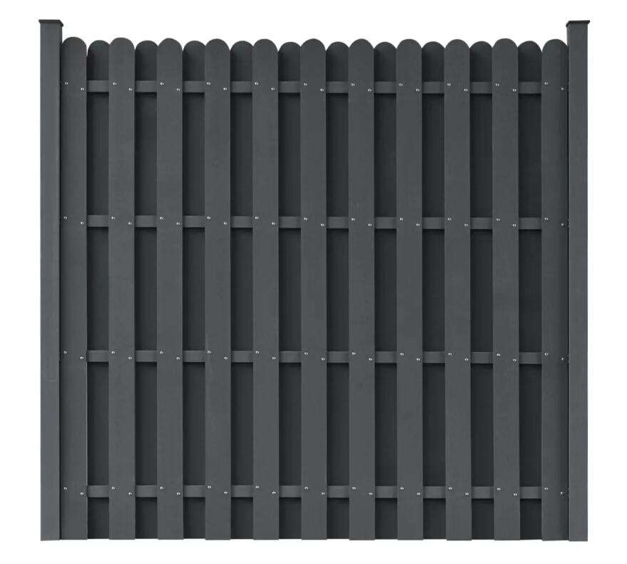 VidaXL WPC Fence Panel Square Grey Wood Plastic Composite Fence Panel Classically Garden Barrier Residential Fence With 2 Posts