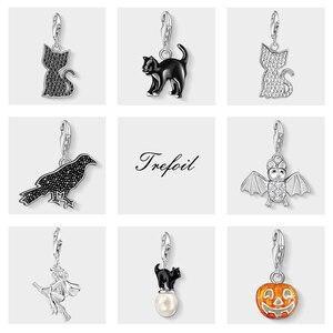 Black Cat Raven Bat Pumpkin Charms Pendant,Fashion Jewelry 925 Sterling Silver Trendy Gift For Women Boy Girls Fit Bracelet(China)