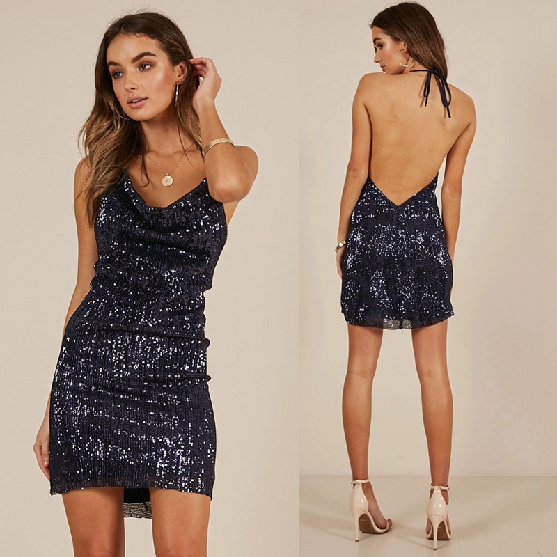 Sexy Women Without Sleeve Halter Sequins Backless Dress Ladies Evening Party Mini Short Dress