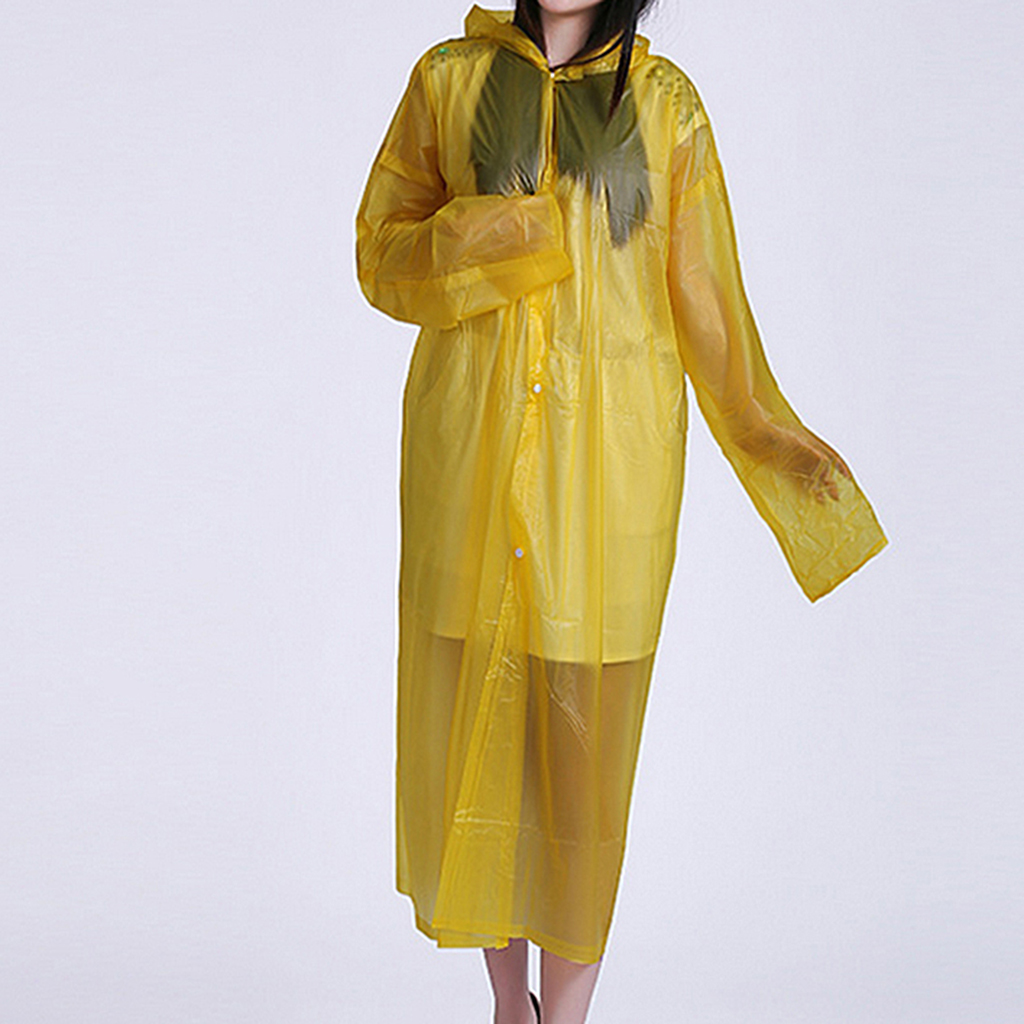 Emergency Rain Poncho Reusable Hooded Rain Coat Outdoor One Size Fits All