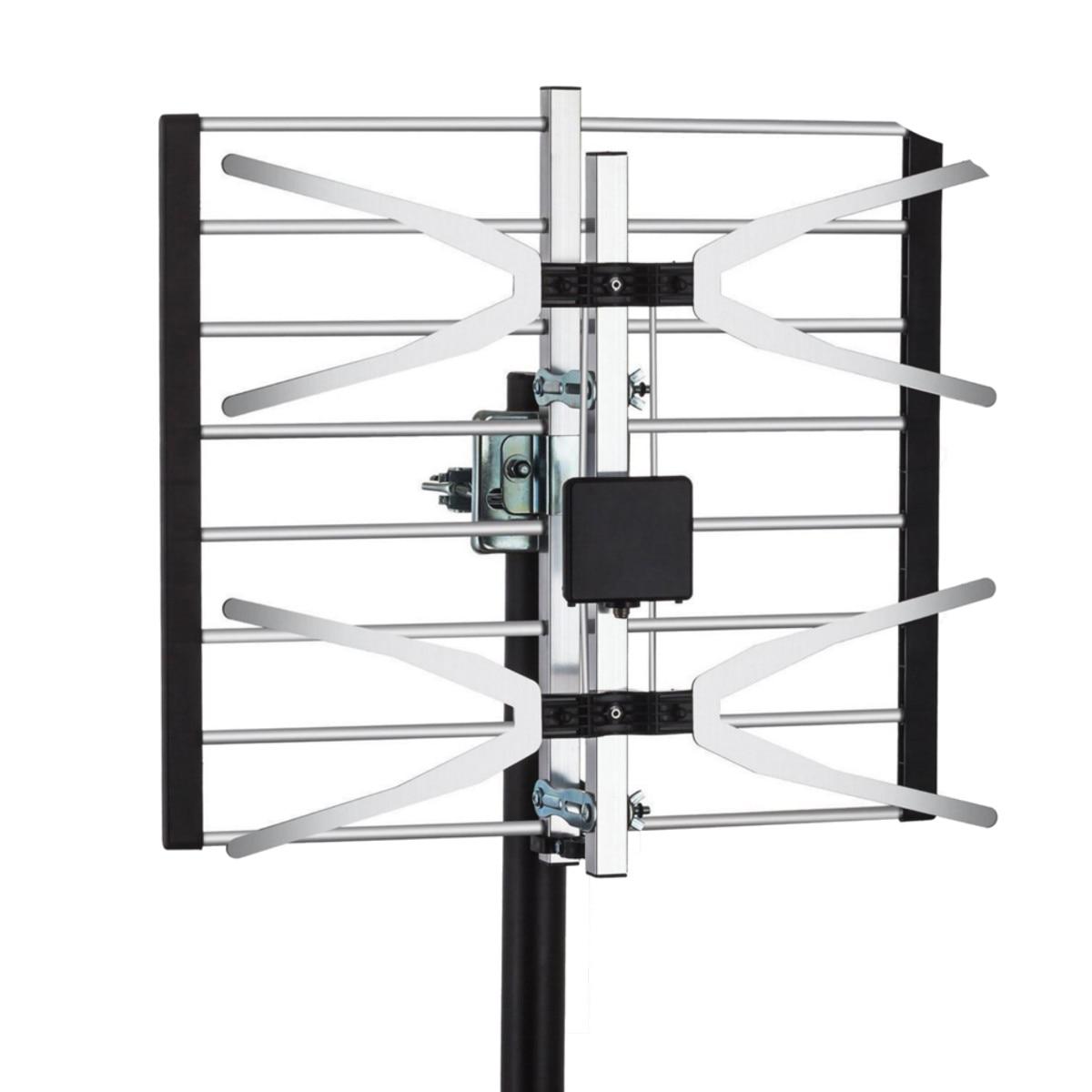 Extérieur 120 Miles gamme attique numérique intérieur amplifié antenne TV Aluminium HDTV Signal aérien Booster équipement TV récepteur