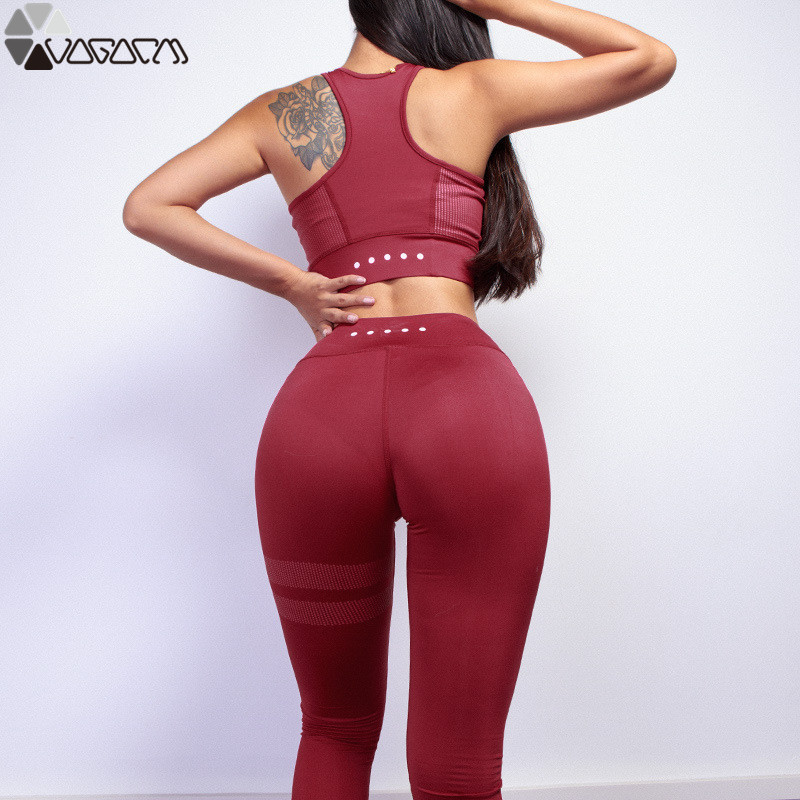 2019 Yoga Suit Sleeveless Workout Clothes For Women Fashion Solid Sport Leggings Bras Suit Yoga Set Fitness Gym Wear in Yoga Sets from Sports Entertainment