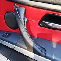 Hand Nähen Tür Griff Pull Mikrofaser Leder Abdeckung Trim Für BMW 3 Serie E90 E91 2005-2012 325 330 318 RHD/LHD