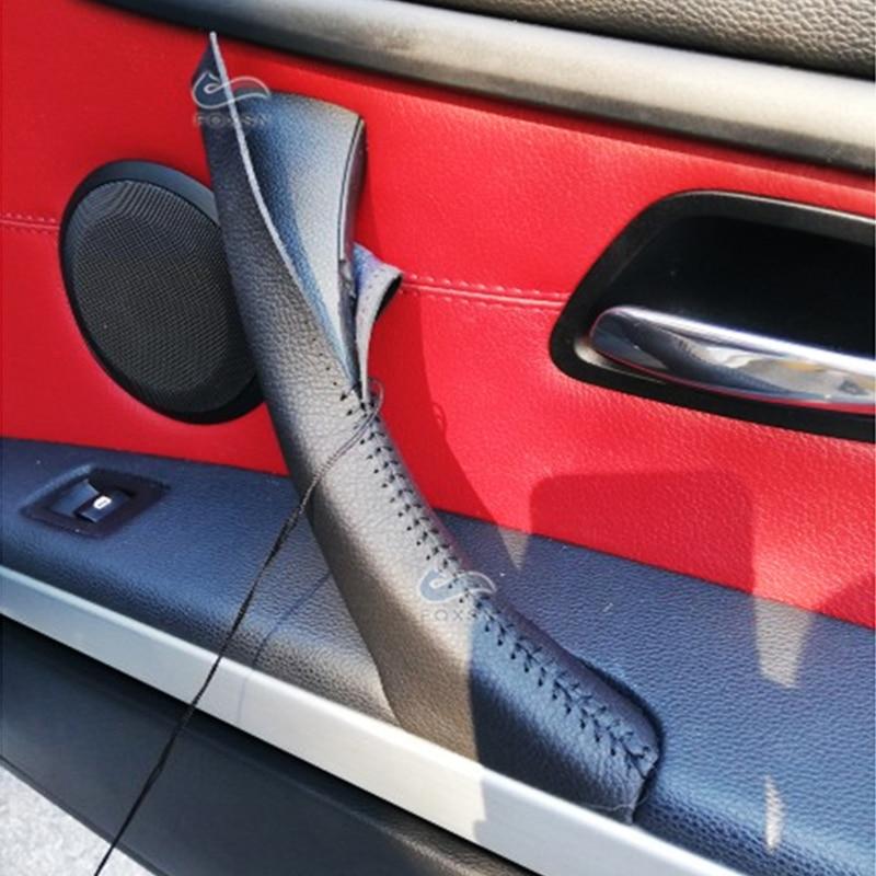 Red stitching frein à main poignée couverture en cuir pour ford ranger 2012-2016