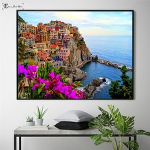 Mediterranean Sea Port Scenery Vintage Poster Prints Oil Painting On Canvas Wall Art Murals Pictures For Living Room Decoration