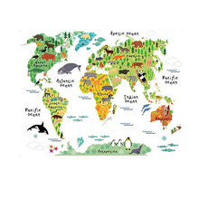 Large Kids Educational Animal World Map Removable Decal Art Mural Home Decor Wall Stickers