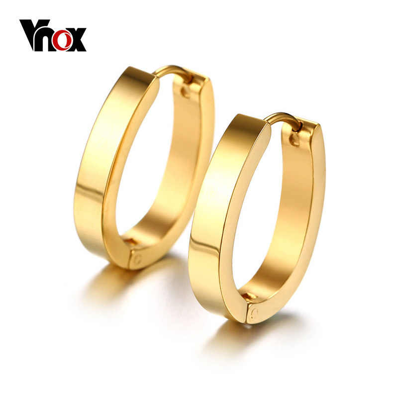 Vnox Women's Gold Color Earrings Stainless Steel Round Stud Earrings for Female Girl Gift Carnival Jewelry