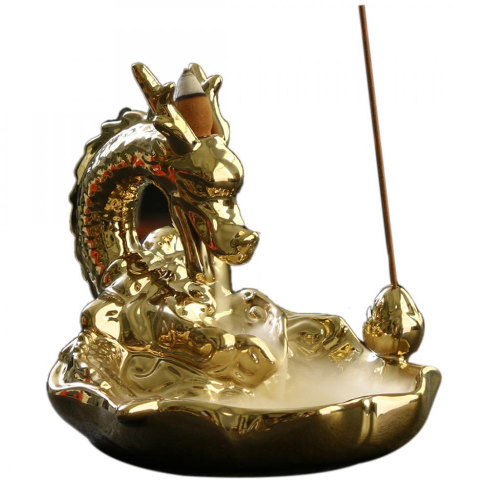 Gold Dragon Backflow Incense Burner Smoke Waterfall Holder Ceramic Aromatherapy Furnace Censer