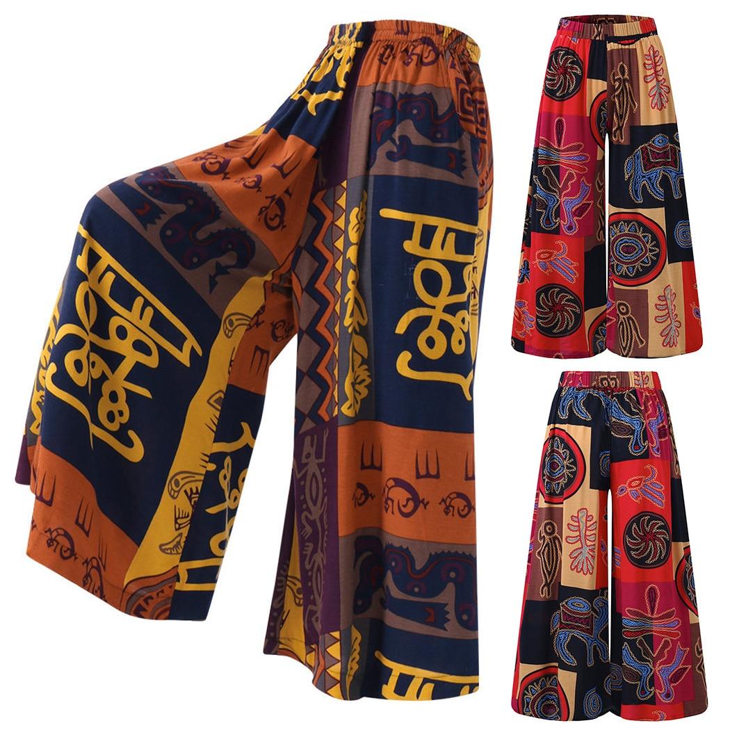 Women   Wide     Leg     Pants   Retro Printed Loose Harem   Pants   Casual Elastic Waist Baggy Hippie Trousers S-5XL Female Bottom Pantalon
