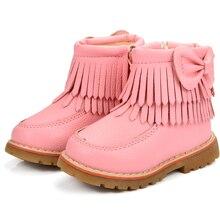 ULKNN/зимние сапоги для девочек с бантиком-бабочкой, зимняя теплая детская обувь на плоской подошве с круглым носком, на молнии, Детские бежевые, черные ботинки, размер 21-25, розовый плюш
