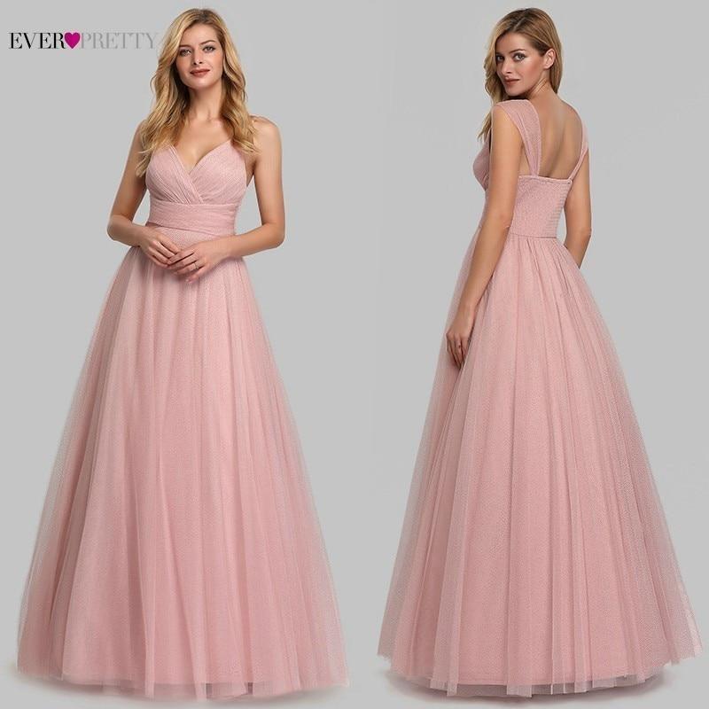 Robes De soirée simples roses longue jamais jolie v-cou a-ligne sans manches Tulle femmes élégantes robes De soirée formelles Robe De soirée