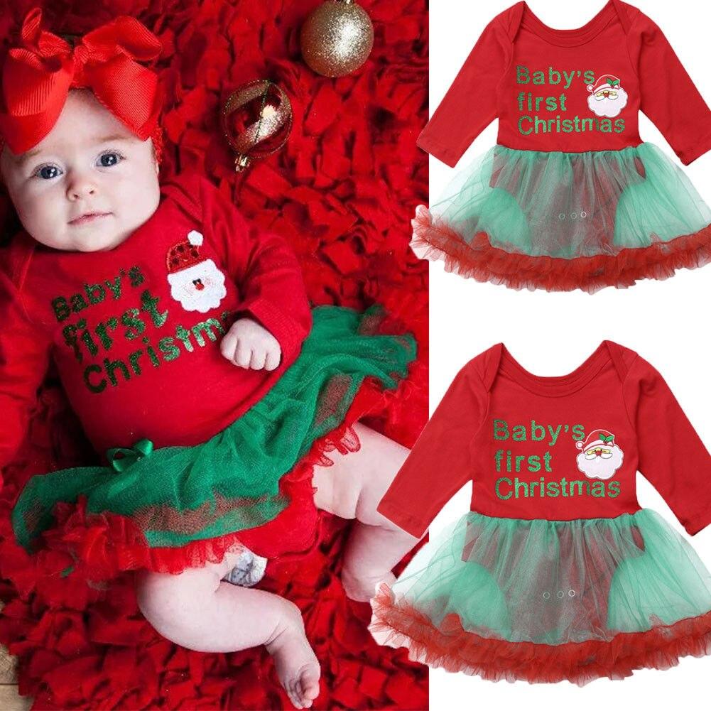 Рождественский новорожденный малыш принцесса малыш первый Рождественский комбинезон платье наряды одежда|Ромперы| | АлиЭкспресс