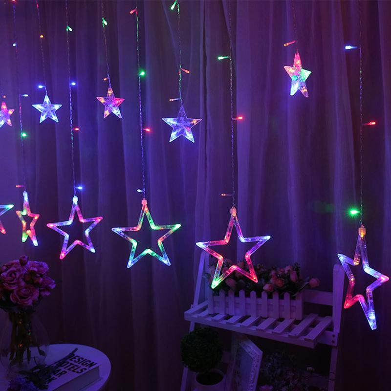 LED Lights Five-pointed Star Curtain Lights Stars Wedding Birthday Christmas Lights Indoor Lights